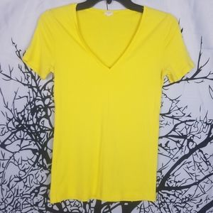J. Crew | Yellow Cotton V-neck Tee size Small